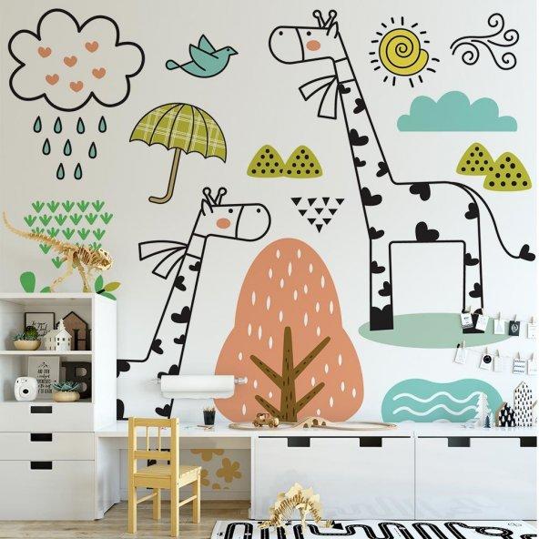 Çocuk Odası Duvar Kağıdı - Zürafa - Seçenekli Ürün 150x75 cm