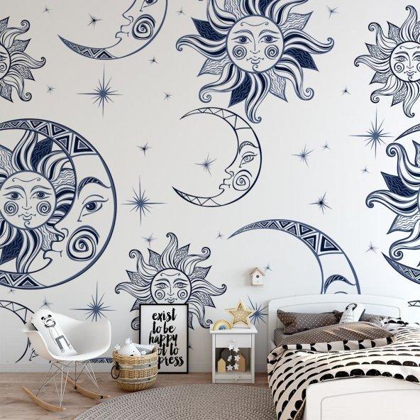Çocuk Odası Duvar Kağıdı - Güneş Ay - Seçenekli Ürün 600x300 cm