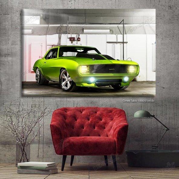 Yeşil Spor Araba Led Işıklı Tablo 50 x 100 cm