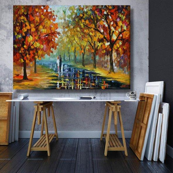 yağlı boya görünümlü sevgililer kanvas tablosu 70x50 cm