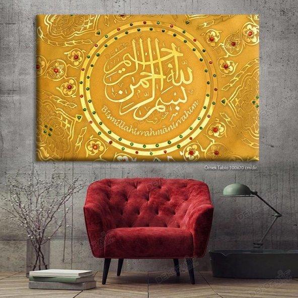 Bismillahirrahmanirrahim Tablo Dini Led Işıklı Kanvas Tablo 80 x 125 cm