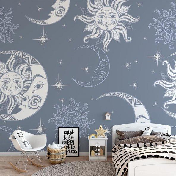 Çocuk Odası Duvar Kağıdı - Güneş Ay - Seçenekli Ürün 300x150 cm