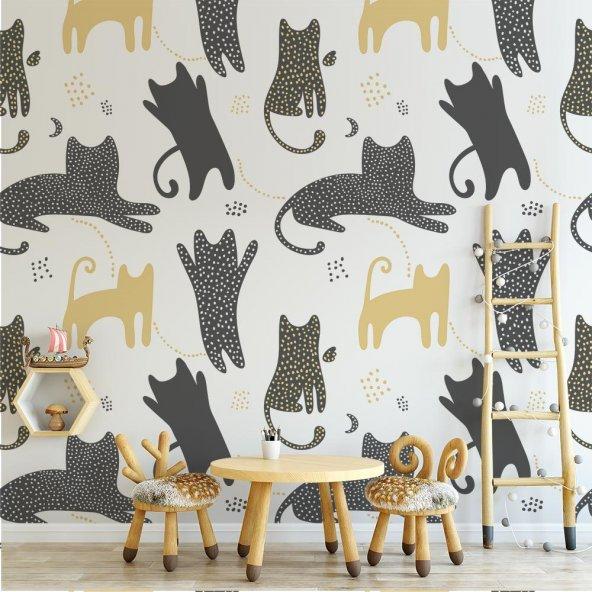 Çocuk Odası Duvar Kağıdı - Kedi - Seçenekli Ürün 150x75 cm