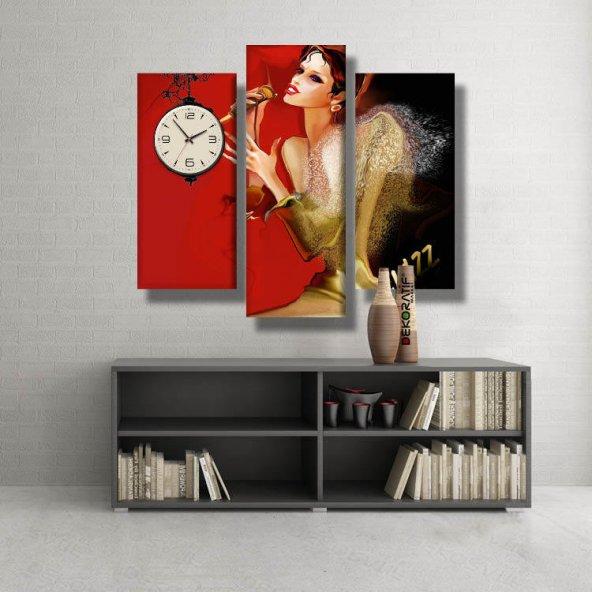 3 Parçalı Saatli Kanvas Tablo -şarkı söyleyen kadın çizim saatli kanvas  tablolar