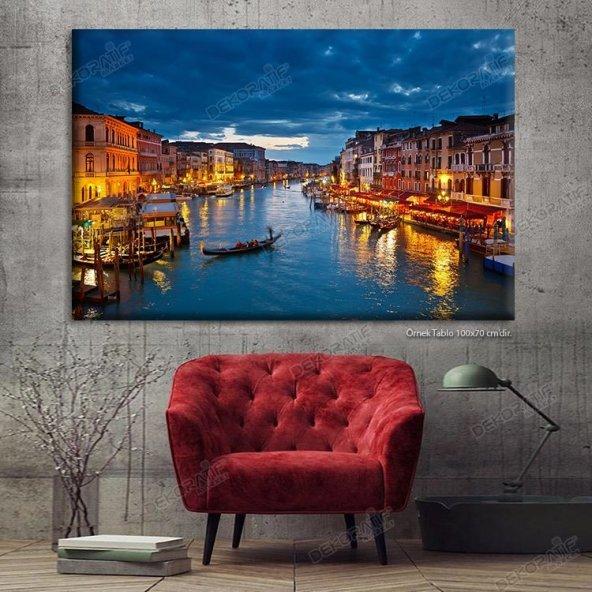 Venedik Led Işıklı Kanvas Tablo 60 cm x 120 cm