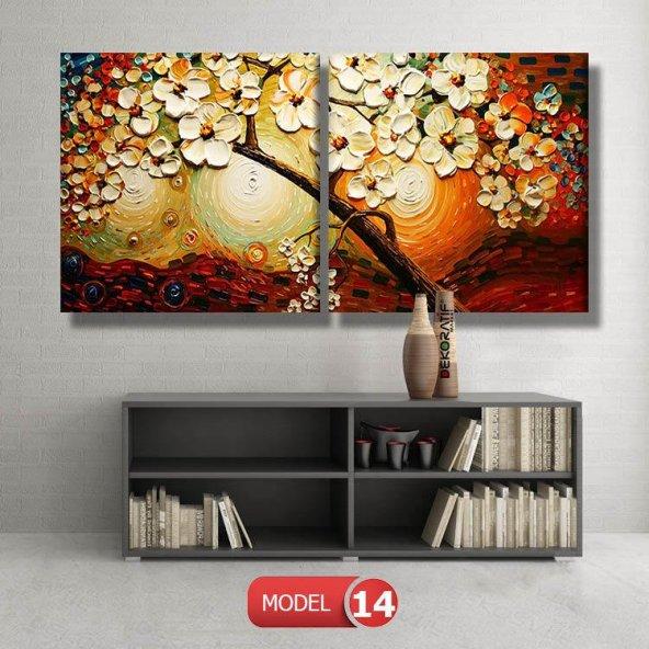 çiçekli kahve tonlu tablolar MODEL 13 - 120x60 cm