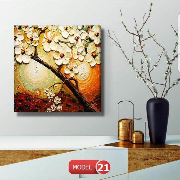 çiçekli kahve tonlu tablo 100 cm x 100 cm