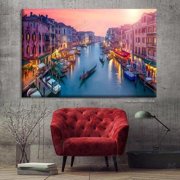 Venedik Led Işıklı Kanvas Tablo
