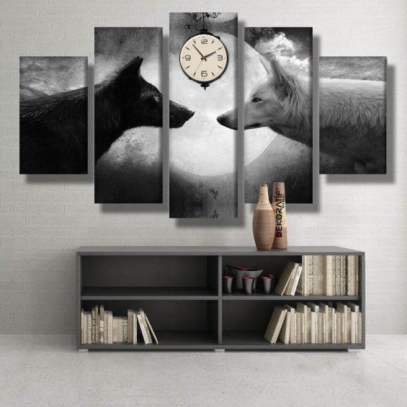 5 Parçalı Saatli Kanvas Tablolar -siyah beyaz kurt saatli Tablo ORTA BOY