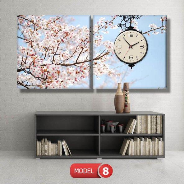 bahar  tabloları - saatli kanvas tabloları MODEL 2 - 129x75 cm