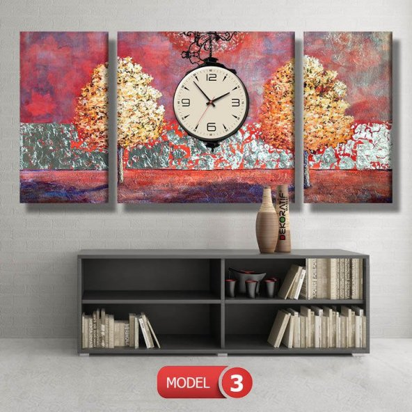 ikiz fuşya ağaç  tablosu - saatli kanvas tabloları MODEL 3 - 126x60 cm