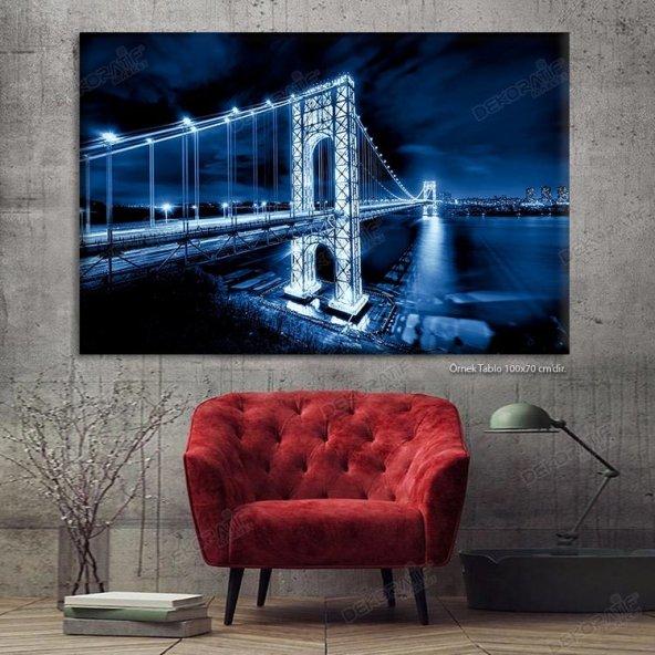 Siyah Beyaz Köprü Ledli Duvar Tabloları 50 x 100 cm