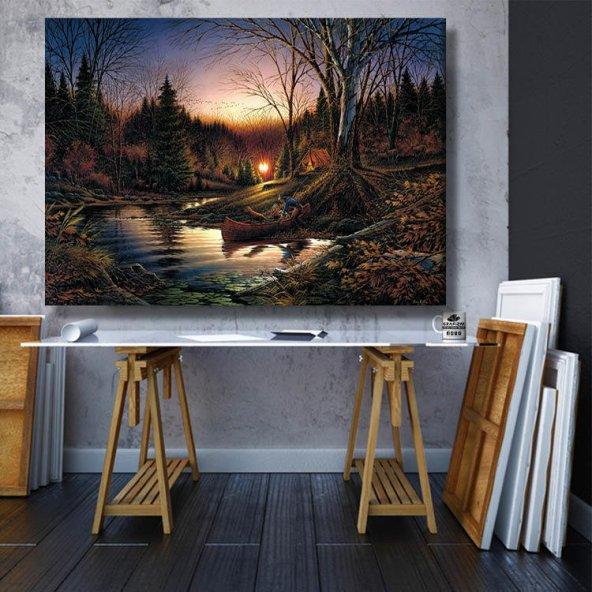 günbatımı orman manzara  kanvas tablosu 70x50 cm