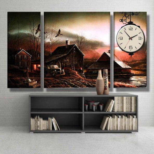 3 parçalı-göl kenarı çiftlik evi saatli tablo