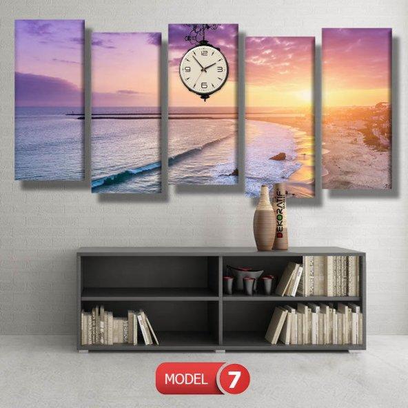 deniz manzaralı tablolar - saatli kanvas tablo MODEL 1 - 162x75 cm