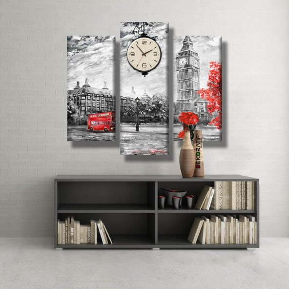 3 Parçalı Saatli Kanvas Tablo -siyah beyaz kırmızı otobüs saatli kanvas  tablolar ORTA BOY