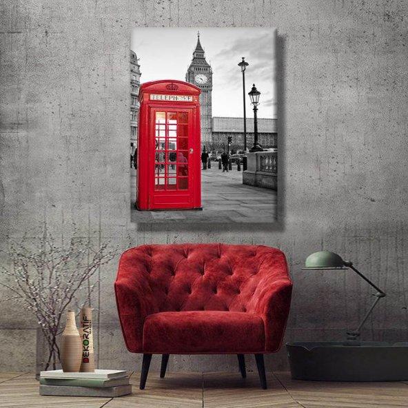 telefon kulübesi siyah beyaz  kanvas tablosu 45x30 cm