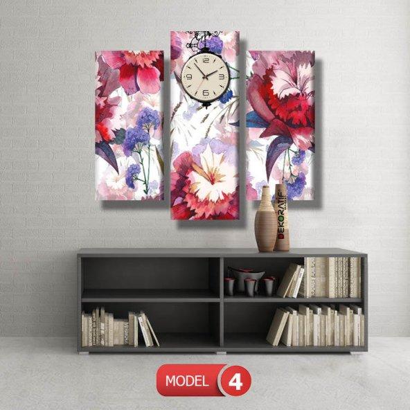 kırmızı-mavi çiçekler tablosu - saatli kanvas tablo MODEL 8 - 123x60 cm
