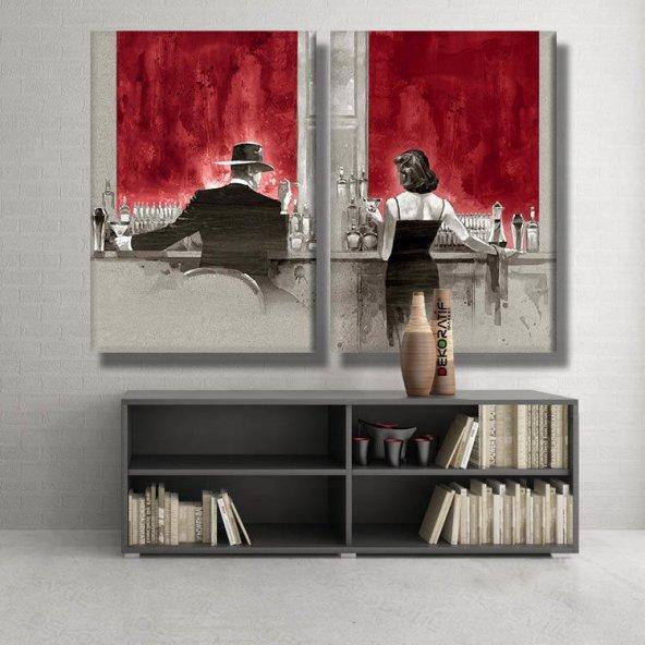 2 parçalı-kadın ve adam siyah beyaz  kanvas tablolar