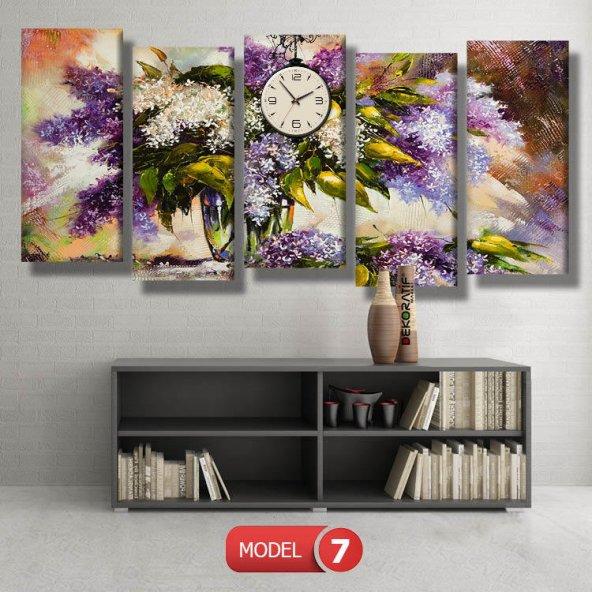 leylaklı tablolar- saatli kanvas tablo MODEL 1 - 162x75 cm