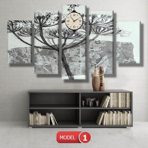 5 parçalı-siyah beyaz çiçek  saatli kanvas tablosu BÜYÜK BOY