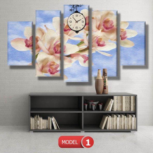 orkide tabloları- saatli kanvas tablo MODEL 3 - 126x60 cm
