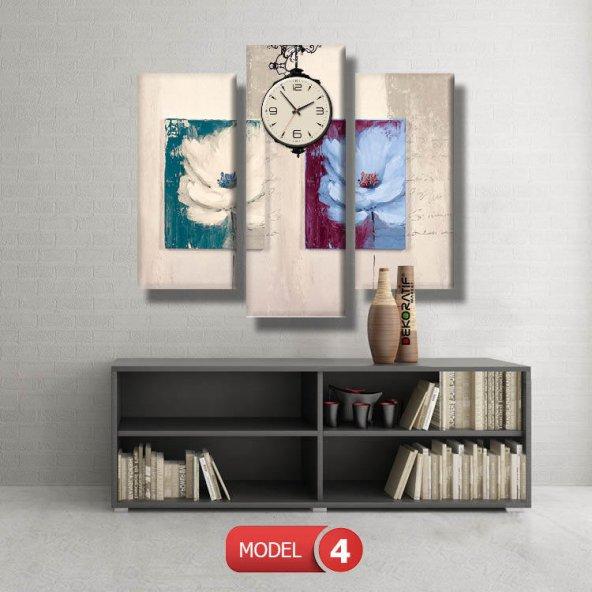 pastel renkli çiçek tabloları- saatli kanvas tablo MODEL 7 - 162x75 cm