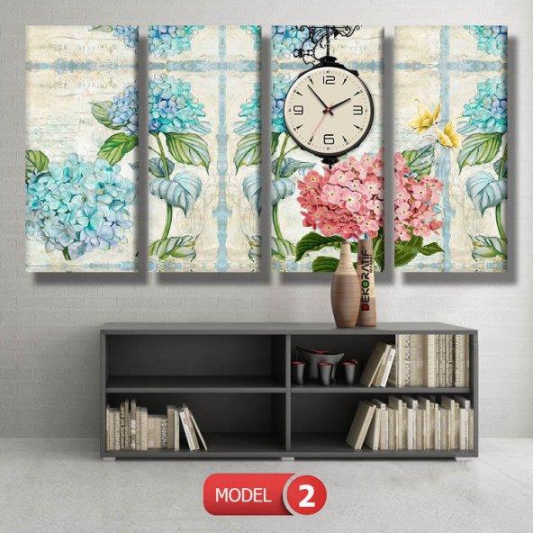 pembe-mavi çiçekli tablolar- saatli kanvas tablo MODEL 3 - 126x60 cm