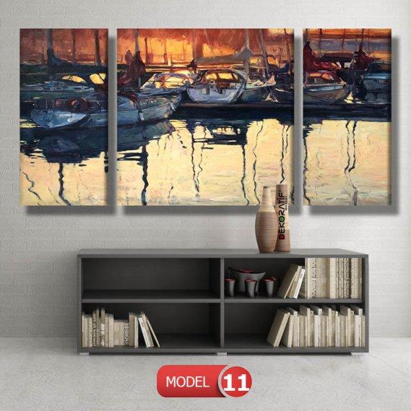 tekneler ve suda yansıması tablosu MODEL 11 - 126x60 cm