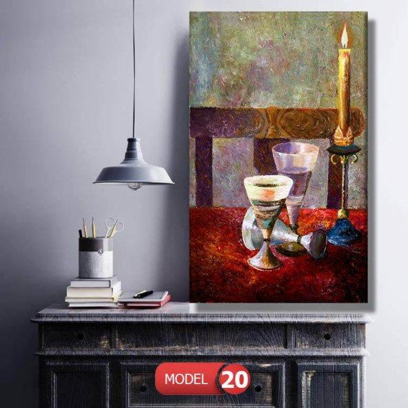 yağlı boya görünümlü mum ve kadehler kanvas  tablosu 70 cm x 140 cm