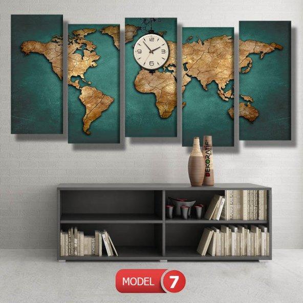 dünya haritası tabloları- saatli kanvas tablo MODEL 3 - 126x60 cm