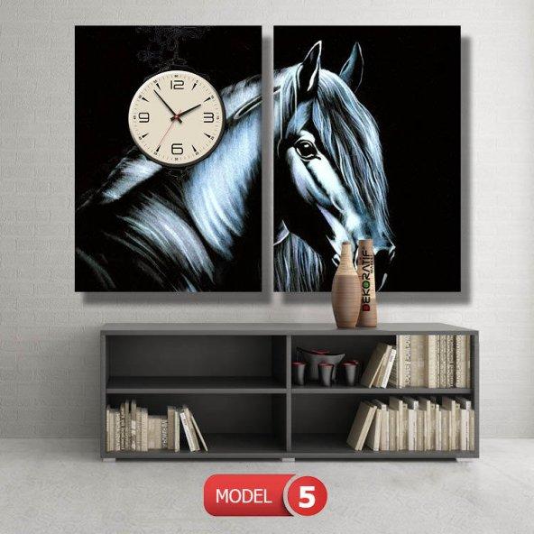 siyah at tablosu- saatli kanvas tablo MODEL 4 - 96x90 cm