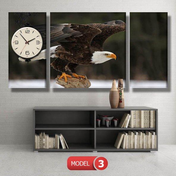 kartal -doğa tabloları- saatli kanvas tablo MODEL 3 - 126x60 cm