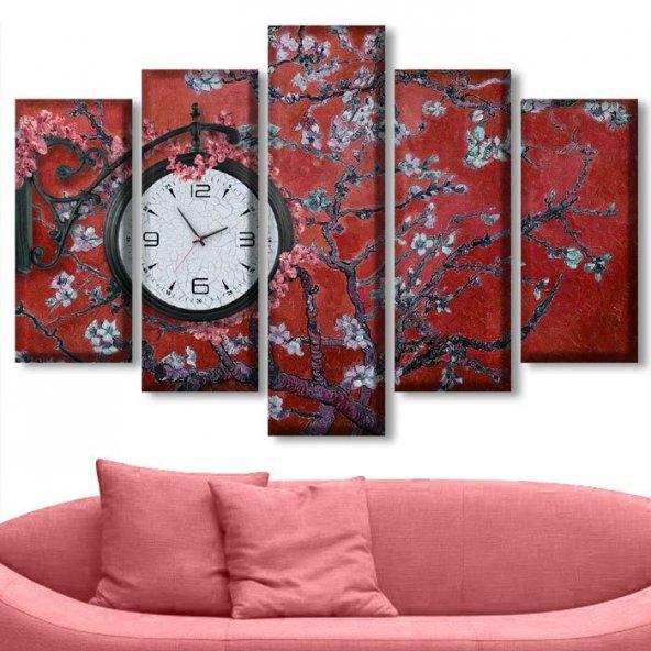 5 Parçalı Saatli Kanvas Tablolar - Kırmızı Rengi Çiçekli Tablo