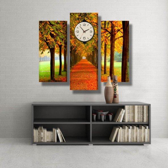3 Parçalı Saatli Kanvas Tablo -ağaçlı yol  saatli kanvas  tablosu