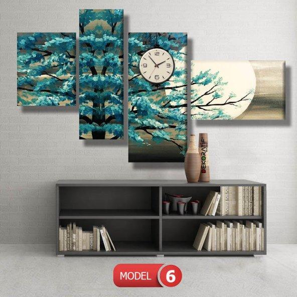 turkuaz ağaç tablosu- saatli kanvas tablo MODEL 3 - 126x60 cm