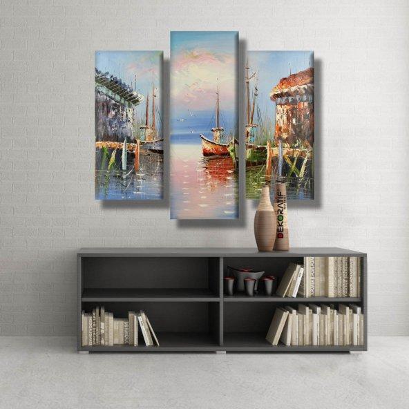 3 Parçalı  Kanvas Tablo -yağlı boya görünümlü tekne kanvas tablosu