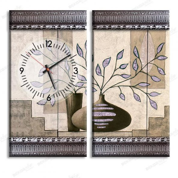 5 cm Kabartma Çerçeveli Saatli Tablo - Eflatun Renk Yapraklı Kanvas Tablo 2 Adet 55x30 cm