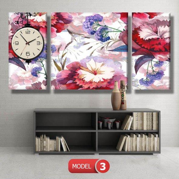 mavi-kırmızı çiçekli tablo- saatli kanvas tablo