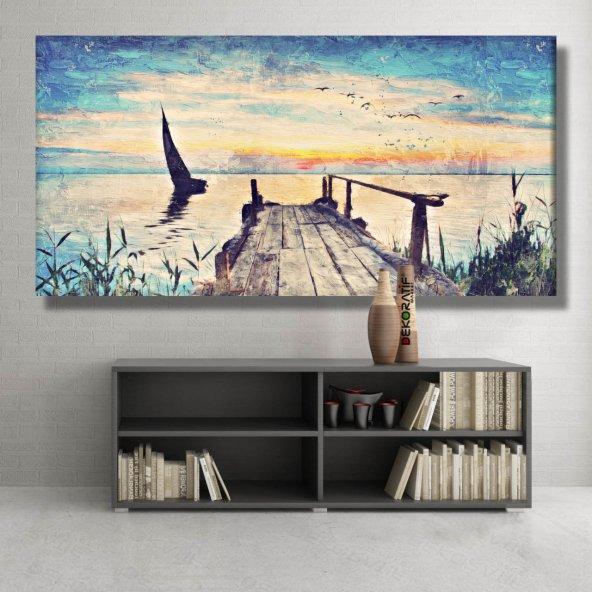 yağlı boya görünümlü iskele  kanvas tabloları 80 cm x 160 cm