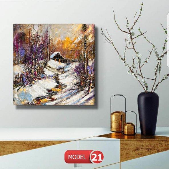 yağlı boya görünümlü karlı ev kanvas tablolar 100 cm x 100 cm