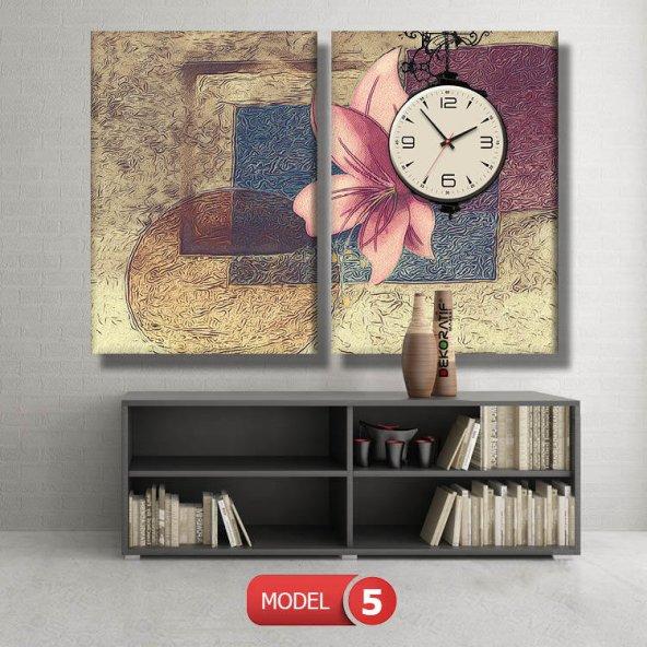 pembe zambak tablosu- saatli kanvas tablo