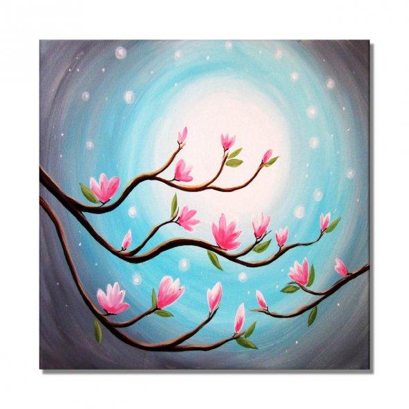 mavi ay ve pembe çiçek dalı  kanvas tabloları 60 cm x 60 cm