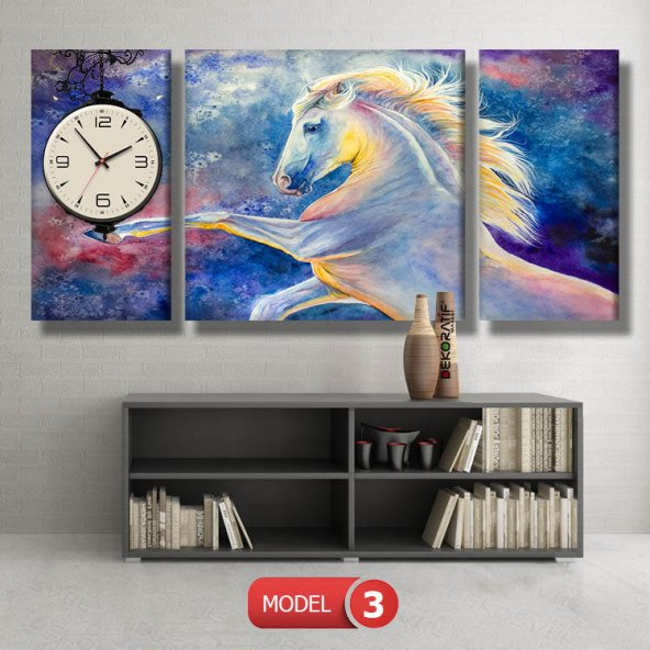 beyaz at tabloları- saatli kanvas tablo MODEL 8 - 123x60 cm