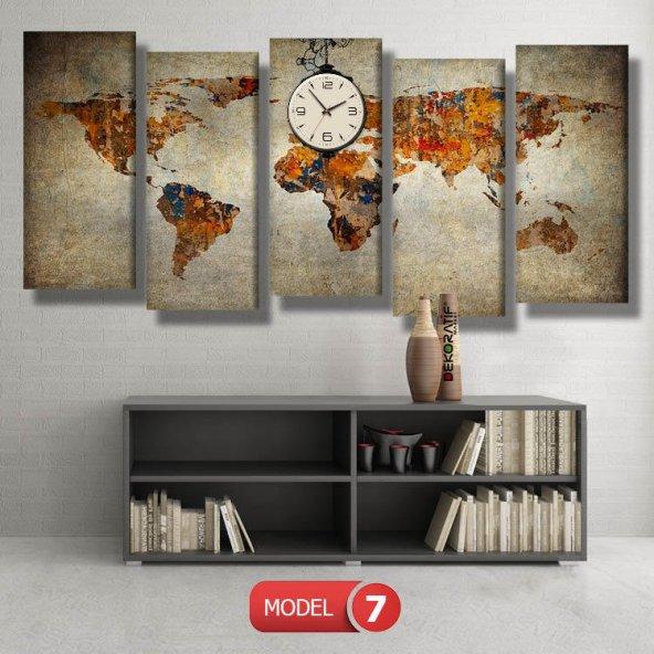 dünya haritası tablosu- saatli kanvas tablo MODEL 5 - 103x70 cm