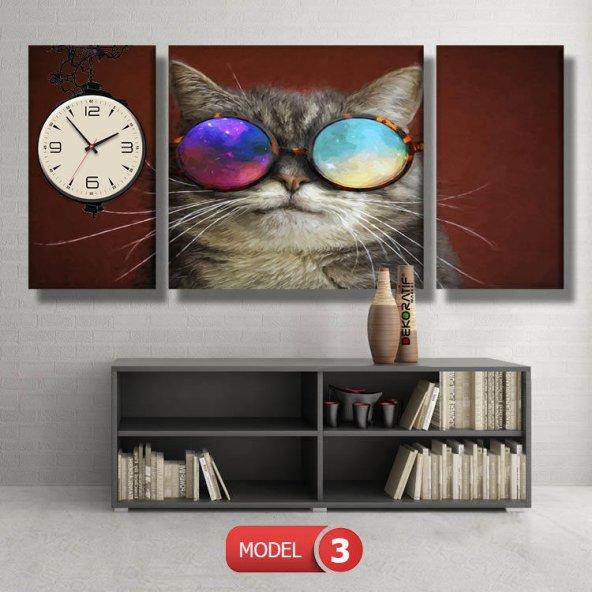 gözlüklü kedi tabloları- saatli kanvas tablo MODEL 8 - 123x60 cm