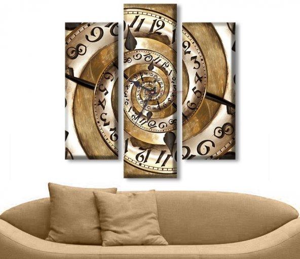 3 Parçalı Saatli Kanvas Tablo - Spiral  Dekoratif Tablo KÜÇÜK BOY