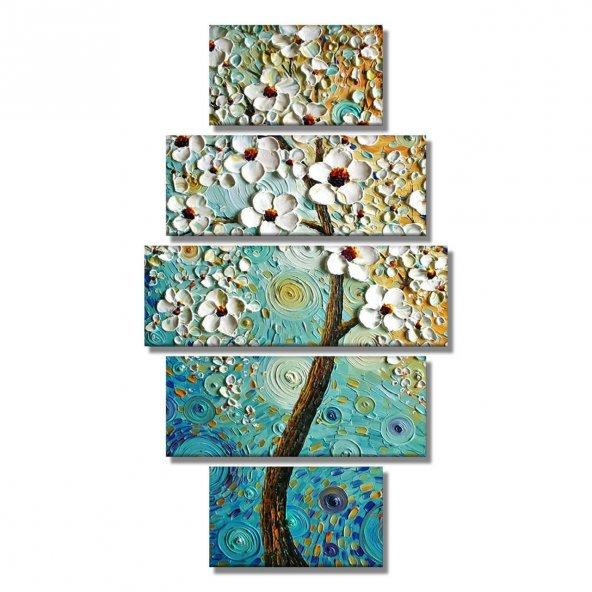 Dikey 5 Parçalı- Yağlı Boya Görünümlü Beyaz Çiçekler  Kanvas Tablosu ORTA BOY