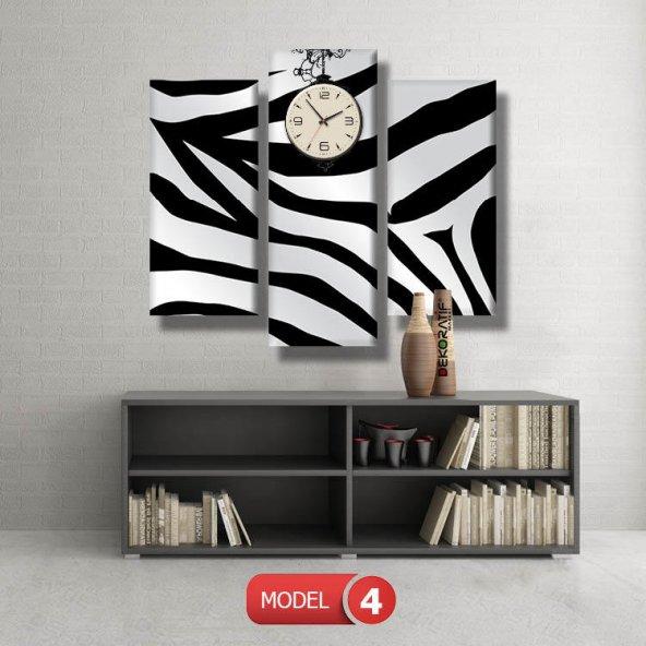zebra desenli tablolar- saatli kanvas tablo MODEL 3 - 126x60 cm