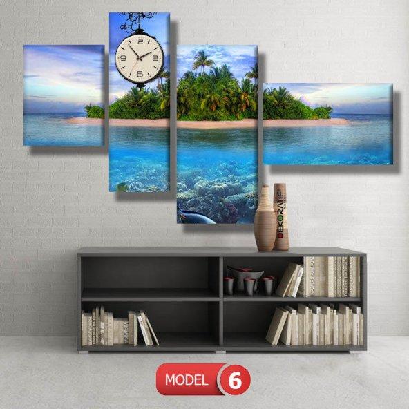 manzara-adalar tabloları- saatli kanvas tablo MODEL 4 - 96x90 cm